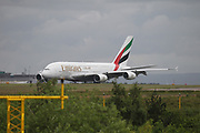 Emirates at Manchester Airport, Manchester, United Kingdom on 14 March 2020.