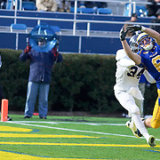 Delaware WR (#6) Mark Schenauer attempts to catch the ball in the end-zone during The Division I FCS Championship Semifinals at Delaware. No. 3 Delaware defeats Georgia Southern 27-10 on a cold Saturday afternoon at Delaware stadium in Newark Delaware...Delaware will head to Texas for the Division I FCS National Championship Game Vs Eastern Washington eagles who defeated Villanova 41-31 friday night in Washington..