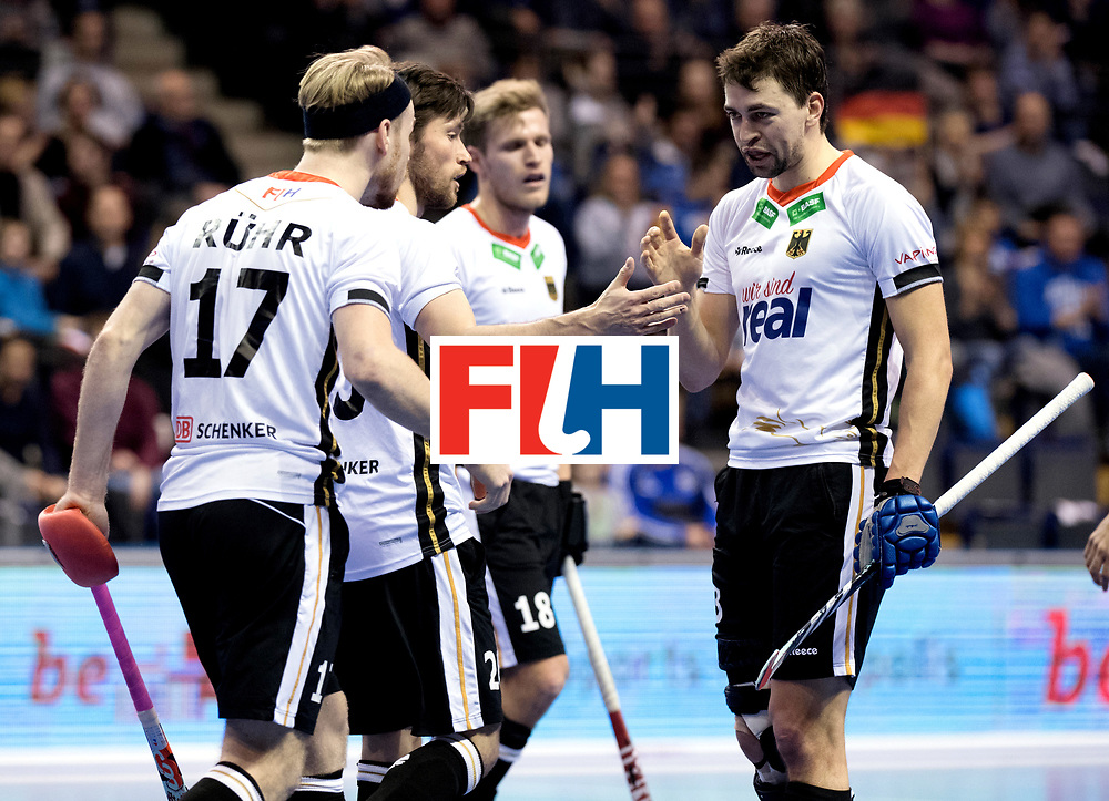 BERLIN - Indoor Hockey World Cup<br /> Men: Germany -  Trinidad &amp; Tobago<br /> foto: Tobias Hauke and Christopher R&uuml;hr.<br /> WORLDSPORTPICS COPYRIGHT FRANK UIJLENBROEK