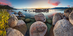 """Tahoe Boulders at Sunset 18"" - Stitched panoramic photograph of boulders at Hidden Beach, Lake Tahoe. Photographed at sunset with fall colors in the foreground."