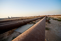 Pipeline and pumpstation in the desert of Bahrain Images taken in March 2010 during the F1 Grand Prix