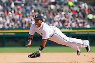 April 10, 2010:  Detroit Tigers' Miguel Cabrera toss the ball to first during the MLB baseball game between Cleveland Indians vs Detroit Tigers at  Comerica Park in Detroit, Michigan.