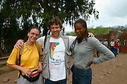 LALIBELA, WELO/ETHIOPIA..German high jumper Amewu Mensah (r.) and Heimo Aga (m.), with a Swiss member of a mini N.G.O., having the same hairstyle..(Photo by Heimo Aga)