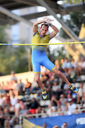 Renaud Lavillenie (FRA) places sixth in the pole vault at 18-4½ (5.60m)during the Meeting de Paris, Saturday, Aug. 24, 2019, in Paris. (Jiro Mochizuki/Image of Sport via AP)