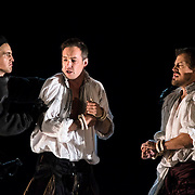 September 23, 2015 - New York, NY : Stephen Costello (as Lord Richard Percy), center left, and David Crawford (as Lord Rochefort), center right, perform in a dress rehearsal for Gaetano Donizetti's 'Anne Bolena' at the Metropolitan Opera at Lincoln Center on Wednesday. CREDIT: Karsten Moran for The New York Times