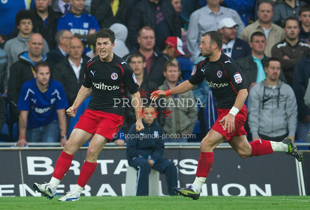 CARDIFF, WALES - Tuesday, May 17, 2011: Reading's Shane Long celebrates scoring the second goal against Cardiff City during the Football League Championship Play-Off Semi-Final 2nd Leg match at the Cardiff City Stadium. (Photo by David Rawcliffe/Propaganda)