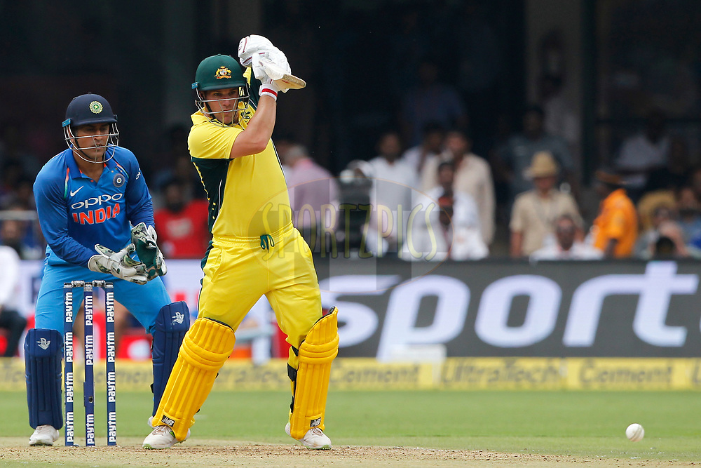 Aaron Finch of Australia bats during the 4th One Day International between India and Australia held at the M. Chinnaswamy Stadium in Bangalore on the 28th September 2017<br /> <br /> Photo by Deepak Malik / BCCI / SPORTZPICS