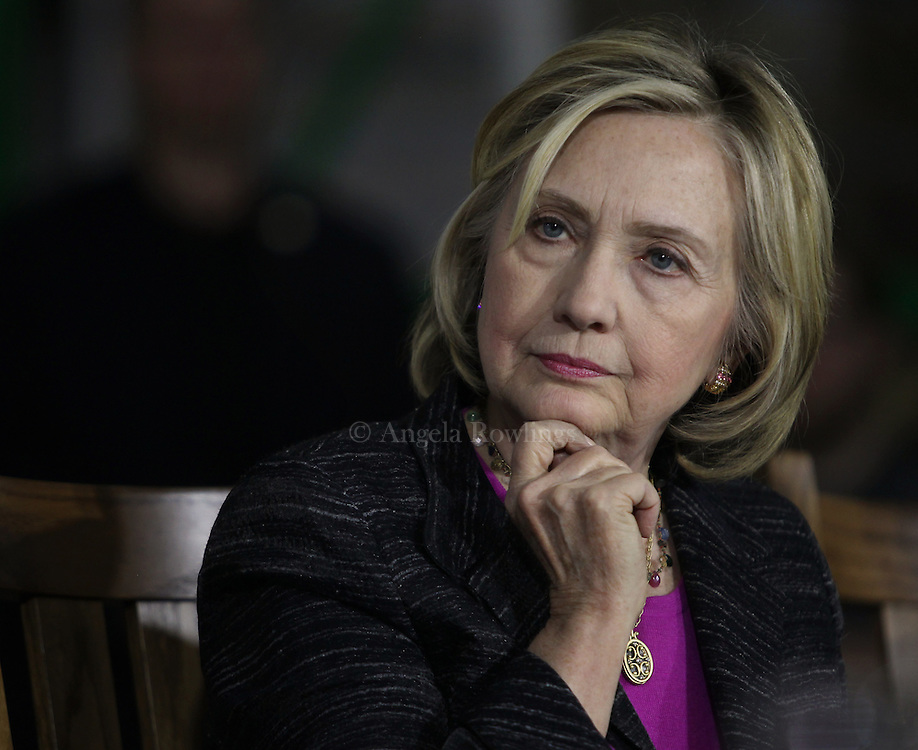 (Hampton, NH - 5/22/15) Former Secretary of State and presidential candidate Hillary Clinton listens during a roundtable discussion with small business owners at Smuttynose Brewery, Friday, May 22, 2015. Staff photo by Angela Rowlings.