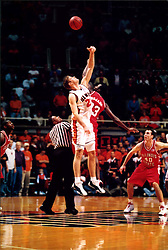December 18, 2001:  Illinois State Redbirds basketball player Baboucarr Bojang and Illinois Illini player Robert Archibald...This image was scanned from a print.  Image quality may vary.  Dust and other unwanted artifacts may exist.