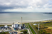 Nederland, Zeeland, Borssele, 23-10-2013;<br /> Kerncentrale Borssele in Zuid-Beveland aan de Westerschelde, Zeeuws Vlaanderen aan de horizon links.<br /> Borssele nuclear power station in South Beveland on shore of the Westerschelde.<br /> luchtfoto (toeslag op standaard tarieven);<br /> aerial photo (additional fee required);<br /> copyright foto/photo Siebe Swart.