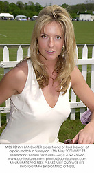 MISS PENNY LANCASTER close friend of Rod Stewart at a polo match in Surrey on 13th May 2001.ONY 74