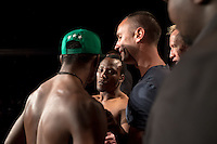 JOHANNESBURG, SOUTH AFRICA - MAY 12: (L-R) Alian Ilunga face off Jeff Madiba during EFC 49 weigh-in at the Big Top Arena, Carnival City, Johannesburg, South Africa on May 12, 2016. (Photo by Anton Geyser/ EFC Worldwide)