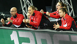 February 23, 2018 - London, England, United Kingdom - L-R Marcus GUSTAFSON Coach of England, Kelly SIBLEY of England and Maria TSAPTSINOS of England celebrate the win of Tin-Tin HO of England .during 2018 International Table Tennis Federation World Cup match between Tin-Tin HO of England against Wanling ZHANG of Singapore  at Copper Box Arena, London  England on 23 Feb 2018. (Credit Image: © Kieran Galvin/NurPhoto via ZUMA Press)