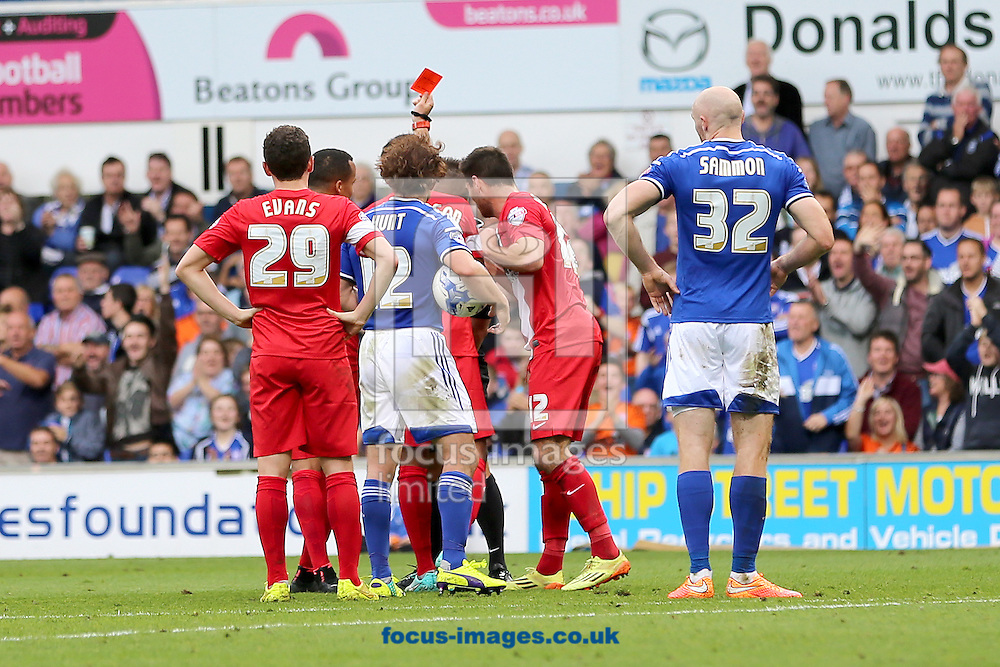 Matthew Kilgallon of Blackburn Rovers receives a red card after a foul on Conor Sammon of Ipswich Town during the Sky Bet Championship match at Portman Road, Ipswich<br /> Picture by Richard Calver/Focus Images Ltd +447792 981244<br /> 18/10/2014