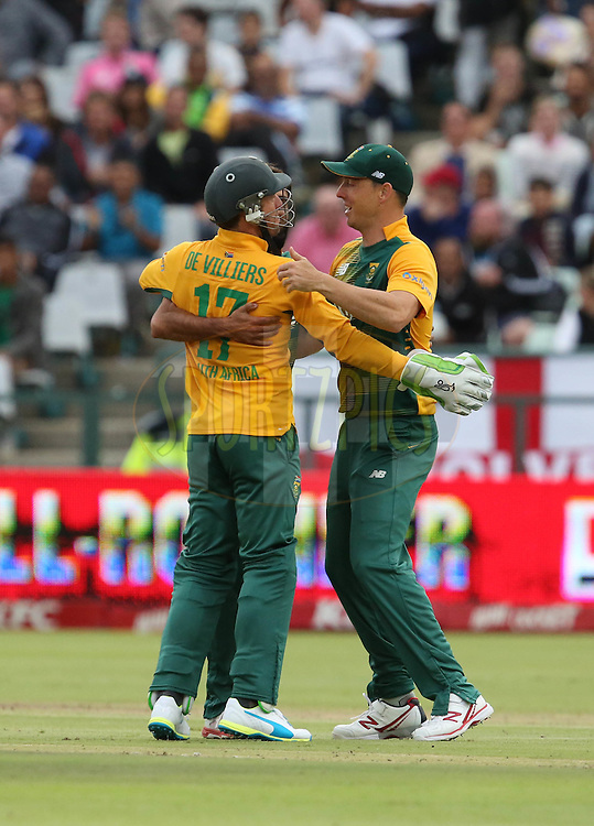 AB De Villiers and Kyle Abbott congratulate Imran Tahir during the First KFC T20 Match between South Africa and England played at Newlands Stadium, Cape Town, South Africa on February 19th 2016