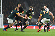 New Zealand back row Sam Cane during the Rugby World Cup Semi-Final match between South Africa and New Zealand at Twickenham, Richmond, United Kingdom on 24 October 2015. Photo by David Charbit.