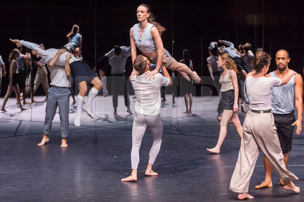 """© Licensed to London News Pictures. 24/10/2019. LONDON, UK. Dancers at a rehearsal of the UK premiere of """"For Four Walls"""", choreographed by Petter Jacobsson and Thomas Caley, performed by CCN-Ballet de Lorraine to a solo piano score, at the Royal Opera House in Covent Garden.  The choreography takes place inside a mirrored space and is a re-imagined piece based on a once-lost 1944 work called """"Four Walls"""".  The show is part of this years Dance Umbrella Festival which runs to 27 October.   Photo credit: Stephen Chung/LNP"""