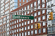 A green Bowery New York Street Sign has been decorated with the word David in tribute to the rock star David Bowie who died in January 2016 in Lower East Side, New York City, New York, Unites States of America. (photo by Andrew Aitchison / In pictures via Getty Images)