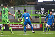 Forest Green Rovers Jack Aitchison(29), on loan from Celtic shoots at goal scores a goal 3-0 during the The FA Cup match between Forest Green Rovers and Billericay Town at the New Lawn, Forest Green, United Kingdom on 9 November 2019.