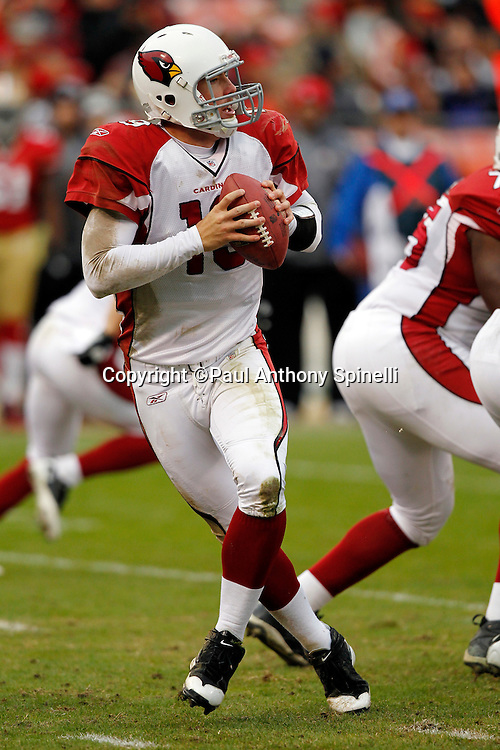 Arizona Cardinals quarterback John Skelton (19) drops back to pass during the NFL week 17 football game against the San Francisco 49ers on Sunday, January 2, 2011 in San Francisco, California. The 49ers won the game 38-7. (©Paul Anthony Spinelli)