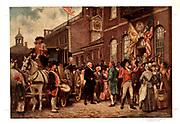 George Washington's inauguration at Philadelphia by Jean Leon Gerome Ferris. 1863-1930. Print shows George Washington arriving at Congress Hall in Philadelphia, March 4, 1793.