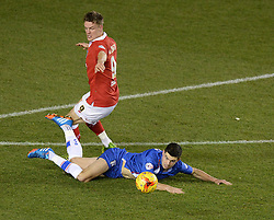 Gillingham's John Egan tackles Bristol City's Matt Smith - Photo mandatory by-line: Alex James/JMP - Mobile: 07966 386802 - 29/01/2015 - SPORT - Football - Bristol - Ashton Gate - Bristol City v Gillingham - Johnstone Paint Trophy Southern area final