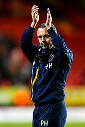 Shrewsbury Town manager Paul Hurst celebrates after his side beat Charlton Athletic in the first leg of the League One Playoff Semi-Final - Mandatory by-line: Robbie Stephenson/JMP - 10/05/2018 - FOOTBALL - The Valley - Charlton, London, England - Charlton Athletic v Shrewsbury Town - Sky Bet League One