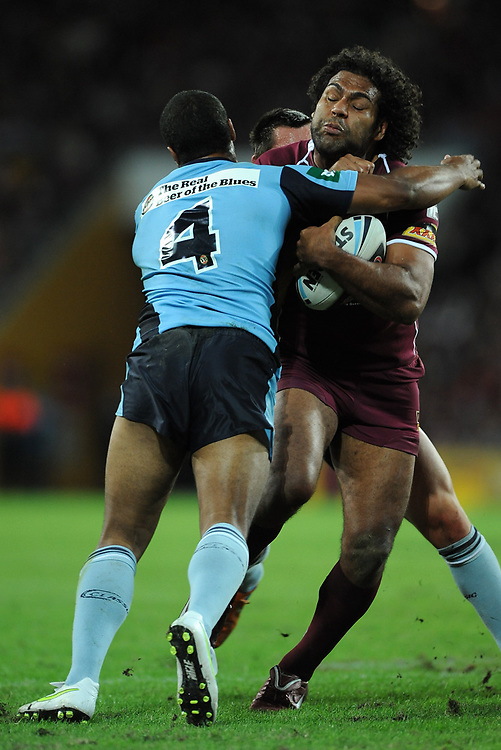 May 25th 2011: Sam Thaiday of the Maroons is tackled during game 1 of the 2011 State of Origin series at Suncorp Stadium in Brisbane, Australia on May 25, 2011. Photo by Matt Roberts/mattrIMAGES.com.au / QRL