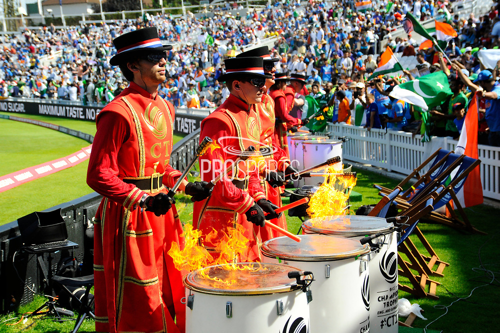 The Beefeater drummers during the ICC Champions Trophy final match between Pakistan and India at the Oval, London, United Kingdom on 18 June 2017. Photo by Graham Hunt.