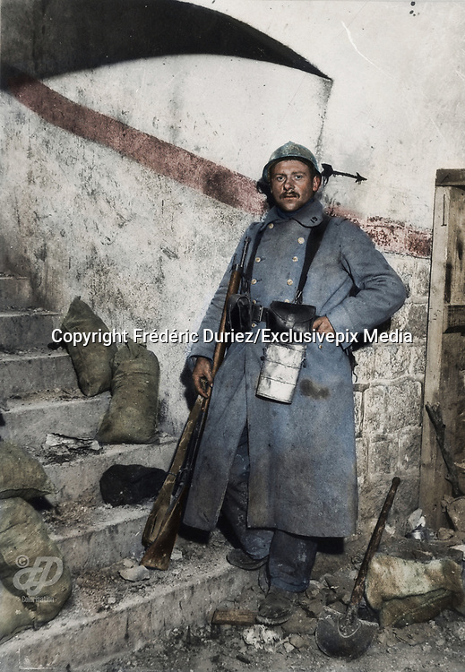 "Colorized photographs soldiers from the World War One<br /> <br /> With his impressive colorized photographs of the World War One, Frédéric Duriez gives us a new look at the conflict that ravaged the world between 1914 and 1918, revealing the difficult daily life of the French soldiers. <br /> <br /> Photo Shows: ""Fort Vaux November 22 , 1916. A sentry posted inside the Fort.<br /> ©Frédéric Duriez/Exclusivepix Media"