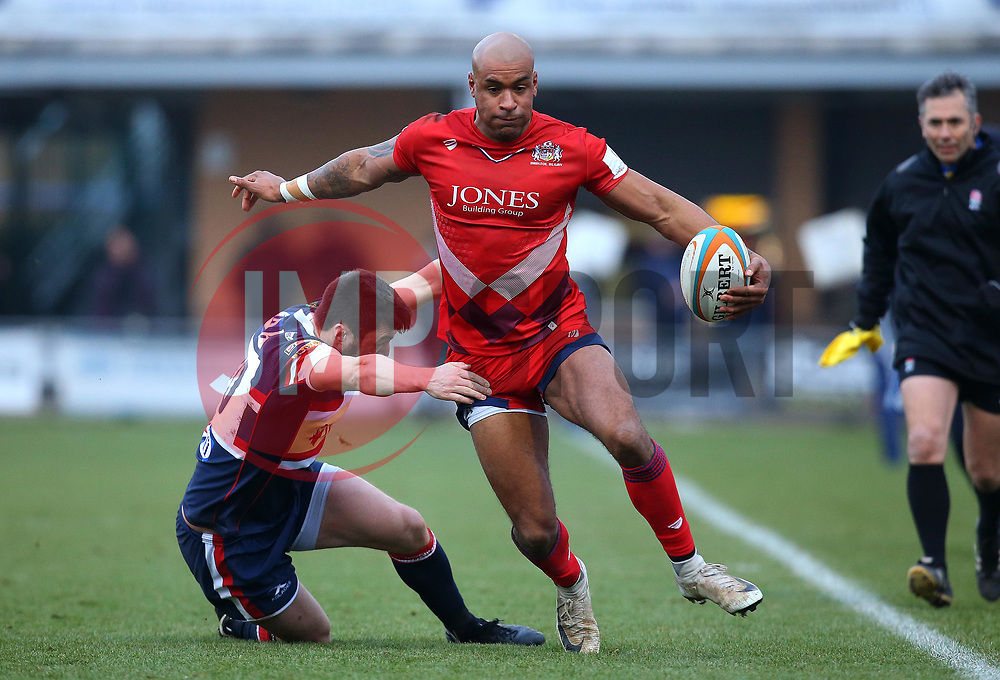 Tom Varndell of Bristol Rugby goes past Declan Cusack of Doncaster Knights - Mandatory by-line: Robbie Stephenson/JMP - 13/01/2018 - RUGBY - Castle Park - Doncaster, England - Doncaster Knights v Bristol Rugby - B&I Cup