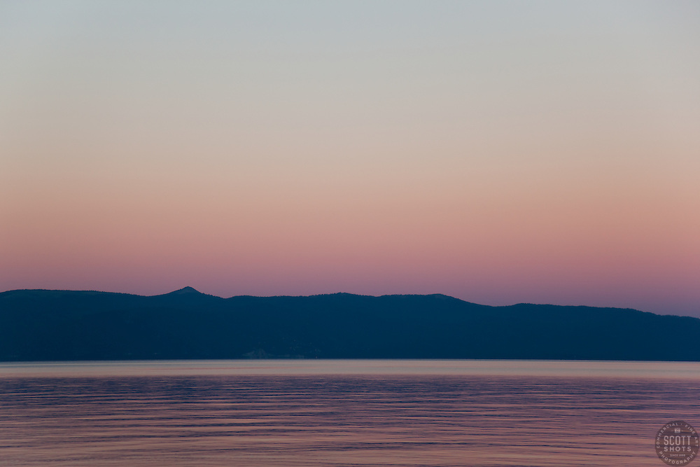 """Sunset at Lake Tahoe 4"" - This peaceful sunset was photographed from the West shore of Lake Tahoe, California."