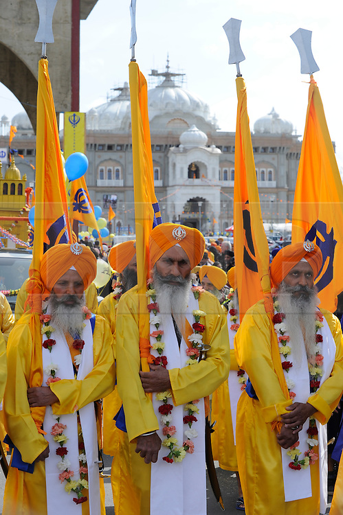 © Licensed to London News Pictures. 14/04/2012.The Sikh festival of Vaisakhi is celebrated with a procession through the streets of Gravesend (today 14.04.2012) with about 5000 sikhs..The nagar kirtan (procession) set off from the Guru Nanak Darbar Gurdwara  and passes through the town centre..Photo credit : Grant Falvey/LNP