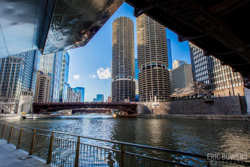 Chicago Riverwalk and Marina City