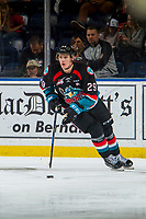 KELOWNA, BC - OCTOBER 03:   Nolan Foote #29 of the Kelowna Rockets skates with the puck against the Vancouver Giants at Prospera Place on October 3, 2018 in Kelowna, Canada. (Photo by Marissa Baecker/Getty Images)