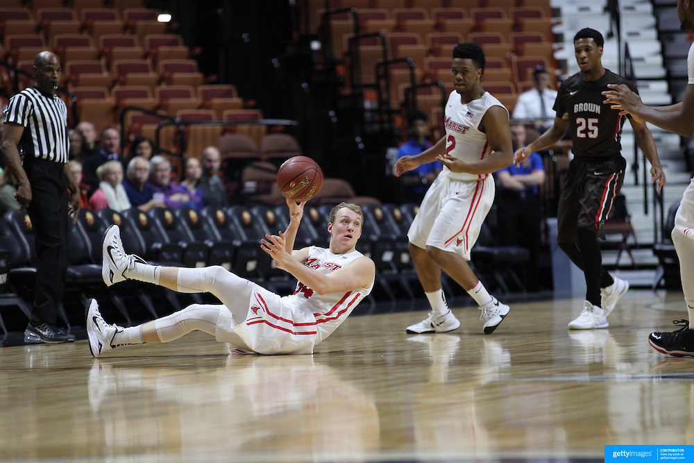 David Knudsen, Marist, in action during the Marist vs Brown Men's College Basketball game in the Hall of Fame Shootout Tournament at Mohegan Sun Arena, Uncasville, Connecticut, USA. 22nd December 2015. Photo Tim Clayton