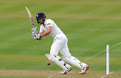 Durham's Calum Macleod flicks the ball off the bowling of Somerset's Jamie Overton. - Photo mandatory by-line: Harry Trump/JMP - Mobile: 07966 386802 - 13/04/15 - SPORT - CRICKET - LVCC County Championship - Day 2 - Somerset v Durham - The County Ground, Taunton, England.