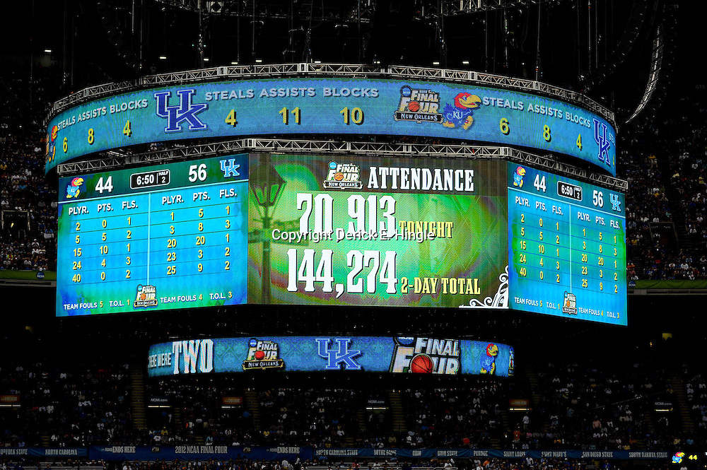 Apr 2, 2012; New Orleans, LA, USA; The jumbotron displays attendance numbers for the finals of the 2012 NCAA men's basketball Final Four between the Kansas Jayhawks and the Kentucky Wildcats at the Mercedes-Benz Superdome. Mandatory Credit: Derick E. Hingle-US PRESSWIRE