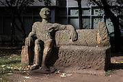 Figure seated on a bench, a reminder that Jewish people were not permitted to do so, from the Block der Frauen or Block of Women sculpture, by Ingeborg Hunzinger, erected 1995, Rosenstrasse, Mitte, Berlin, Germany. The sculpture is a memorial to the Jewish women's protest in 1943 against the arrest of their husbands by the SS, and resulted in their release. Picture by Manuel Cohen