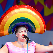 London, England, UK. 7th July 2018. Busty & Ginger (Pride's Got Talent Cabaret Winner 2018) preforms at the Pride parade in Trafalgar Square, London, UK on 7th July 2018