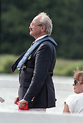 "Henley on Thames. Henley. GREAT BRITAIN;  Umpire, Martin BRANDON-BRAVO. Sitting right, wife Sally BRANDON-BRAVO.<br /> <br /> 1995 Women's Henley Regatta. Henley Reach. River Thames.<br /> <br /> [Mandatory Credit; ""Photo, Peter Spurrier/Intersport-images]"