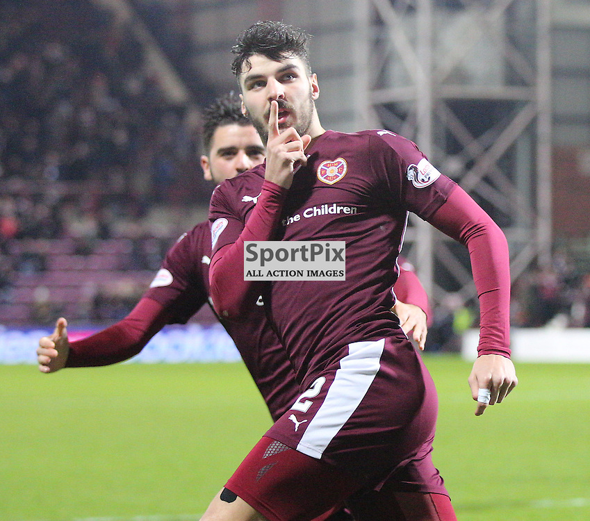 Hearts v Aberdeen Scottish Cup 9 January 2016; Callum Paterson (Hearts, 2) scores during the Heart of Midlothian v Aberdeen William Hill Scottish Cup fourth round match played at Tynecastle Stadium, Edinburgh; <br /> <br /> &copy; Chris McCluskie | SportPix.org.ukw