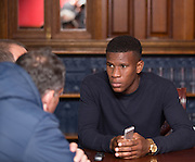 Dundee new boy Riccardo Calder talks to the press<br /> ]<br />  - &copy; David Young - www.davidyoungphoto.co.uk - email: davidyoungphoto@gmail.com