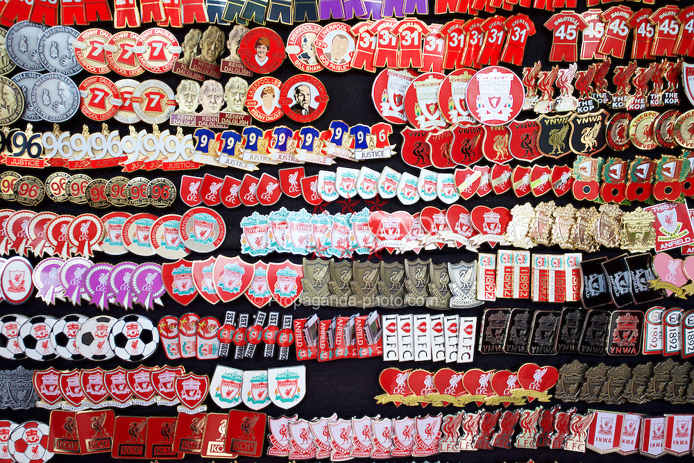 LIVERPOOL, ENGLAND - Saturday, January 31, 2015: Pin badges on sale outside Anfield before the Premier League match between Liverpool and West Ham United. (Pic by David Rawcliffe/Propaganda)