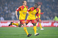 FOOTBALL - FRENCH CHAMPIONSHIP 2010/2011 - L1 - MONTPELLIER HSC v RC LENS - 19/03/2011 - PHOTO SYLVAIN THOMAS / DPPI - SEBASTIEN ROUDET (RCL) AFTER HIS GOAL AND CHRISTOPHER AURIER (RCL)