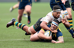 Kai Owen (Telford College of Arts of Worcester Warriors U18 is tackled - Mandatory by-line: Robbie Stephenson/JMP - 22/01/2017 - RUGBY - Sixways Stadium - Worcester, England - Worcester Warriors U18 v Northampton Saints U18 - Premiership Rugby U18 Academy League