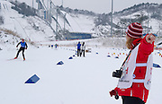(R) Polish trainer Ewelina Mroz and (L) Marcin Sokolowski  athlete with intellectual disability while in Finals of Cross Country Relay 4 x 1000 meters Race during 2013 Special Olympics World Winter Games PyeongChang at Cross Country Skiing Venue on February 5, 2013...South Korea, PyeongChang, February 5, 2013..Picture also available in RAW (NEF) or TIFF format on special request...For editorial use only. Any commercial or promotional use requires permission...Photo by © Adam Nurkiewicz / Mediasport