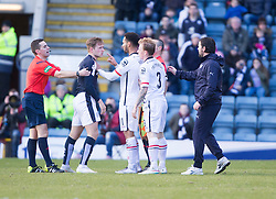 Inverness Caledonian Thistle's Carl Tremarco (3) and Dundee's Greg Stewart have a tussle on the park and both get booked. <br /> Half time : Dundee 0 v 1 Inverness Caledonian Thistle, SPFL Ladbrokes Premiership game played at Dens Park, 27/2/2016.
