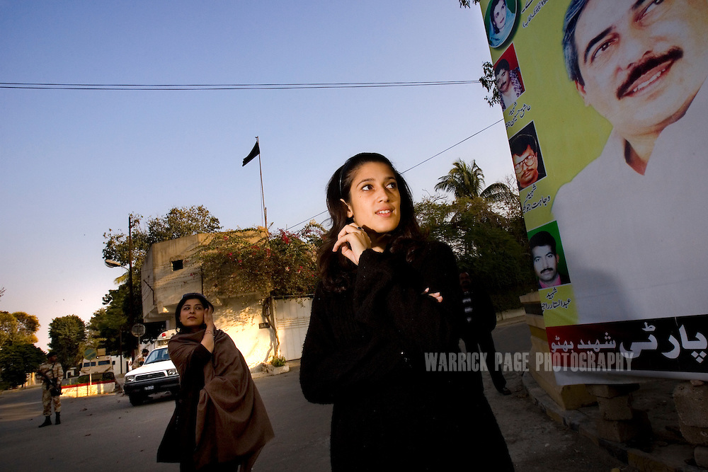 Fatima Bhutto (R), estranged niece of assassinated former prime minister, Benazir Bhutto, and granddaughter Zulfikar Ali Bhutto, stands with friend Sabeen Jatoi (L) near the site of her father's assassination, February 3, 2008 in Karachi, Pakistan. Fatima is a writer and a poet whose father, Murtaza Bhutto, was assassinated alongside Sabeen's father, Ashiq Hussain Jatoi, by police during the premiership of Benazir Bhutto in 1996. It has been widely speculated that she will eventually enter politics; a rumour she strongly denies. (Photo by Warrick Page)