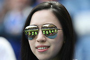 The reflection of photographers in a fan's mirrored glasses  during the Premier League match between Chelsea and Sunderland at Stamford Bridge, London, England on 21 May 2017. Photo by John Potts.
